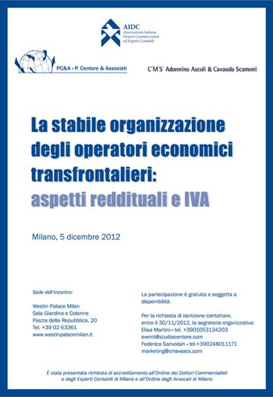 La Stabile Organizzazione Degli Operatori Economici Transfrontalieri: Aspetti Reddituali E IVA